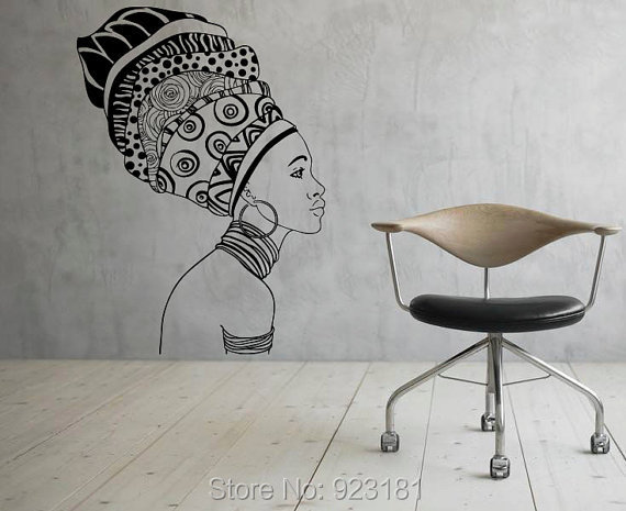 African Girl Silhouette Africa Wall Art Sticker Decal Home DIY Decoration Wall Mural Removable Bedroom Decor Stickers 57x57cm