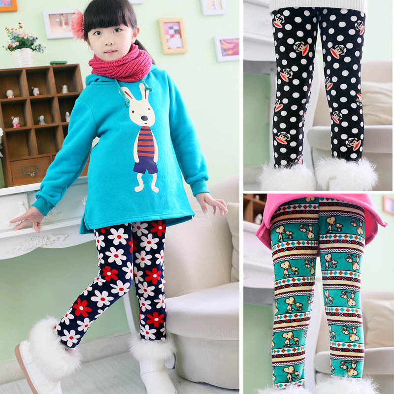 New Arrive winter girls' leggings,kids clothing warm pants children's cotton casual  trousers,more thick pants for kids(China (Mainland))
