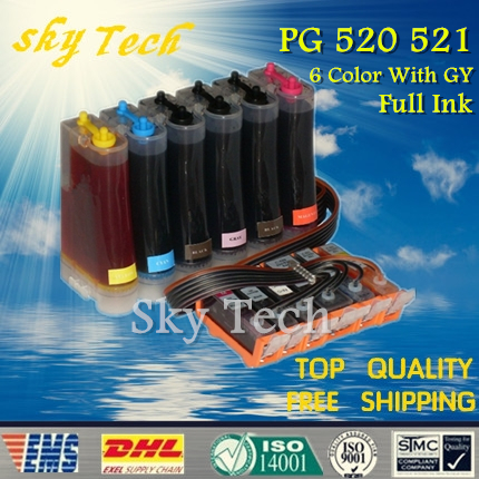 6 Color Full ink CISS suit for PGI520 CLI521 series ,CIS suit for  Canon PIXUS MP980 MP990   (AU &amp; EU) , full ink with GY<br><br>Aliexpress