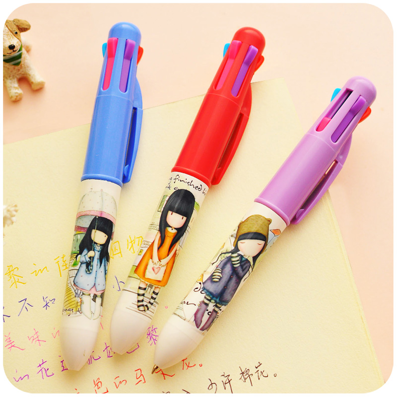 5pcs/Lot Multi Color Ball Point Pen 6 Colors Cartoon Cute Ballpoint Pens For Writing<br><br>Aliexpress