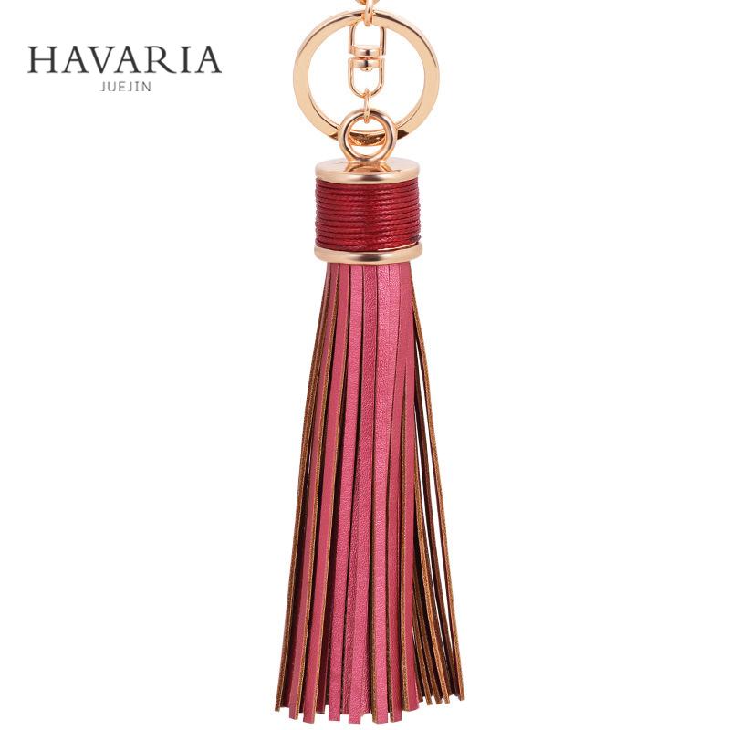 HAVARIA Fashion casual PU leather tassels women keychain bag pendant alloy car key chain ring holder retro jewelry ysb-020(China (Mainland))