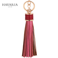 HAVARIA Fashion casual PU leather tassels women keychain bag pendant alloy car key chain ring holder