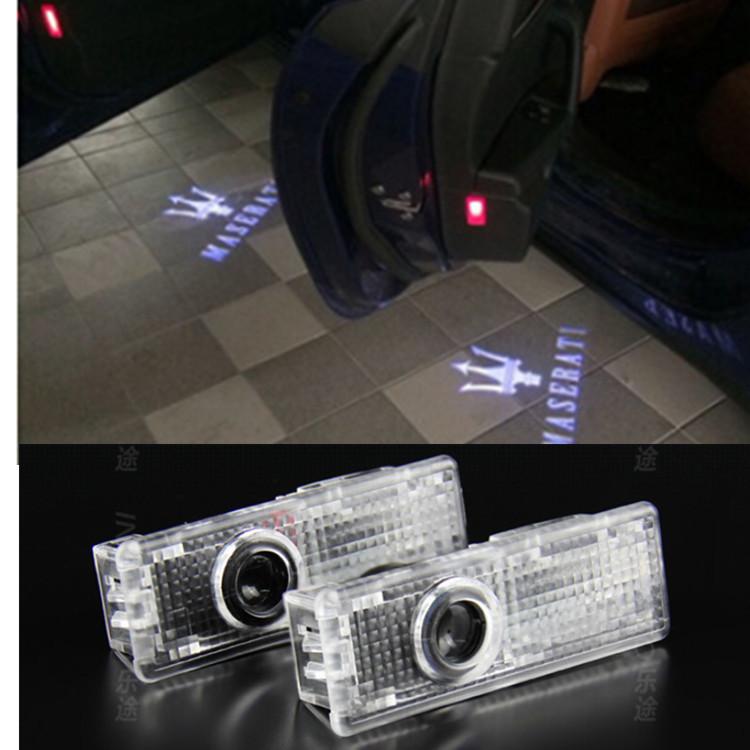 Maserati LOGO Car LED logo projector Light ghost shadow light For Quattroporte Ghibli GranTurismo GranCabrio(China (Mainland))