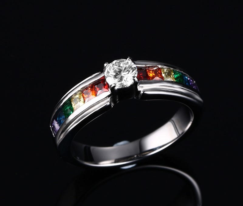 new products 2016 stainless steel rainbow color shiny cz stones inlay wedding engagement finger rings for women men unisex(China (Mainland))