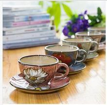 Ceramic handpainted colorful ceramic coffee cup set vintage water cup individuality brief