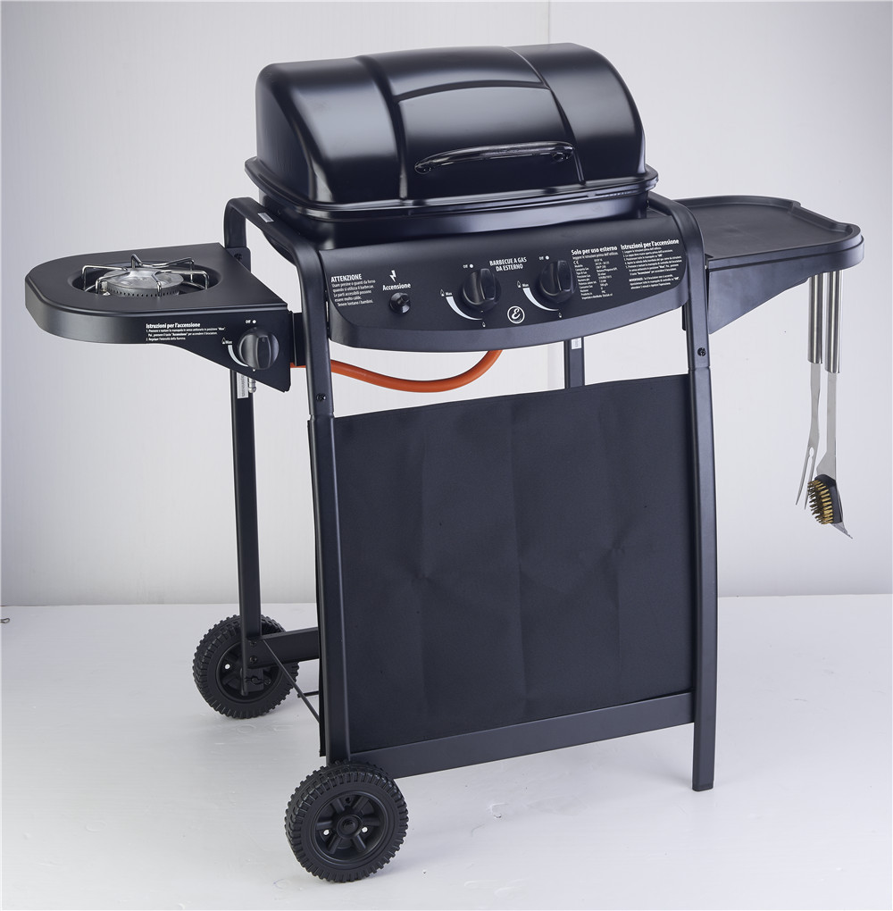 Enamel gas BBQ grill, gas stove,gas oven,outdoor BBQ grill with motor,two burners BBQ grill(China (Mainland))