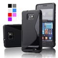 Stylish Style Crazy Horse PU Leather Case With Plastic Cover For Samsung Galaxy S2 i9100 SII Phone Case  Black