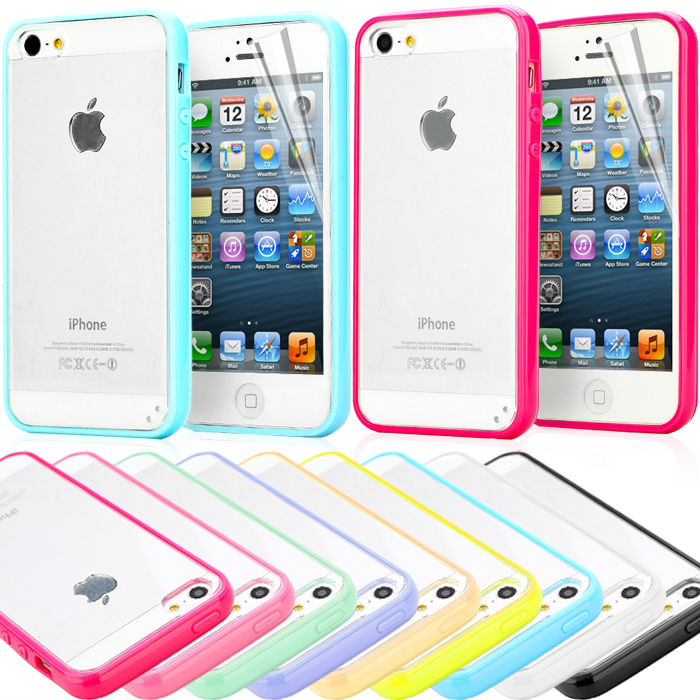 New Transparent Clear Hard Back TPU Silicone Frame Cover Case For Iphone 5 5S Fashion Phone Case Free Gift(China (Mainland))