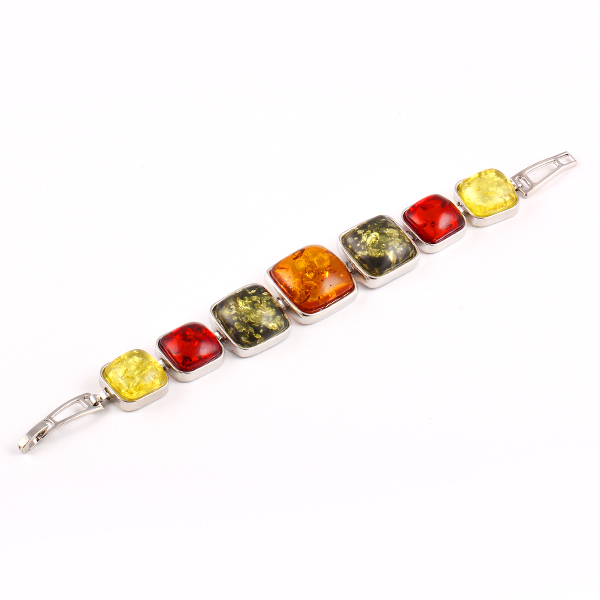 New hot Fashion Charm Geometry gem Charm Bracelet Bangle jewelry Colorful gem Synthetic amber Accessories for women 2014 M16(China (Mainland))