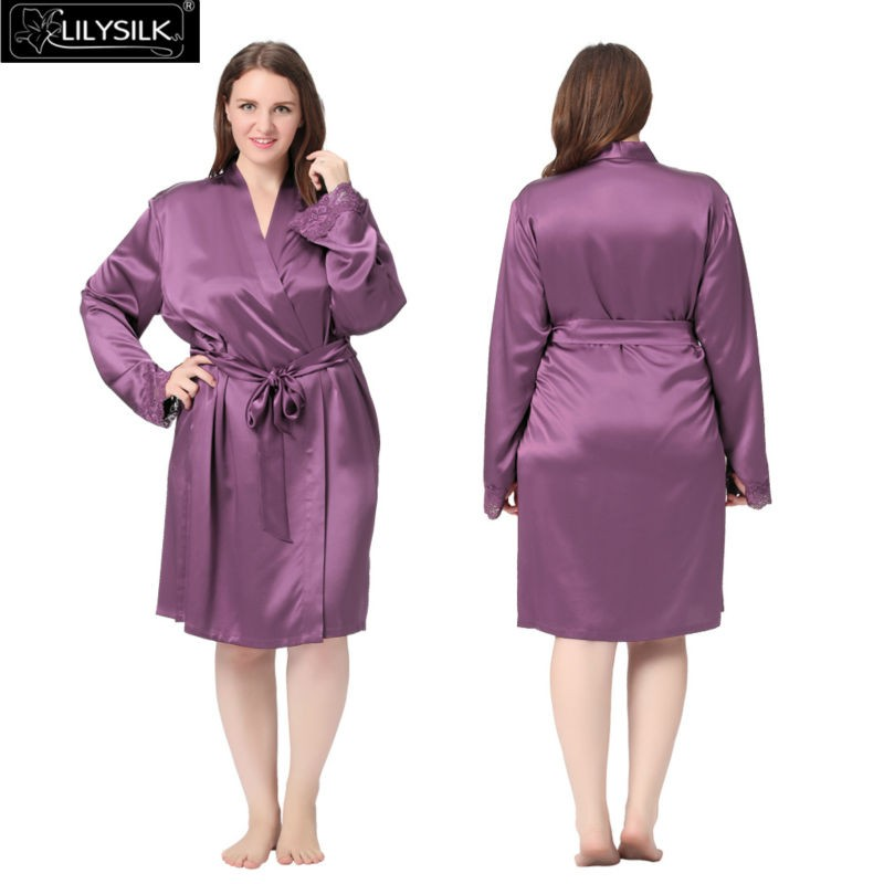 2019 Wholesale Lilysilk 100% Pure Silk Robe Women Plus Size 22 Momme ... 0b0fc390c