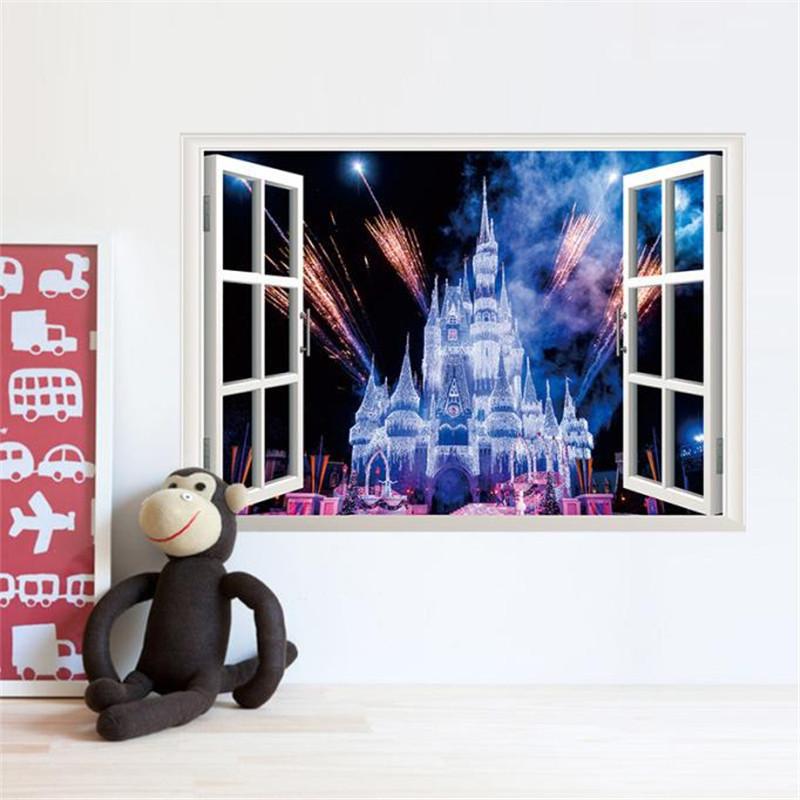 2016 3D window wall sticker night light castle firework wall sticker living room home decal 50*70cm on sale(China (Mainland))