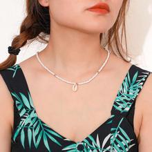 X152 czechy zielony/biały zroszony naszyjnik naszyjnik kobiety naturalne muszla komunikat naszyjniki Collier Femme Collares De Moda 2019(China)