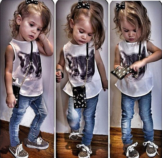 New fashion lovely girls clothes sets cute cat print shirt + jeans pants children 2 piece baby fashion cotton kids suits(China (Mainland))