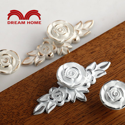 10Pcs Rose Flower Painted Ivory Cabinet Knob Cupboard Dresser Furniture Kitchen Drawer Knobs Handle Pulls Silver lining(China (Mainland))