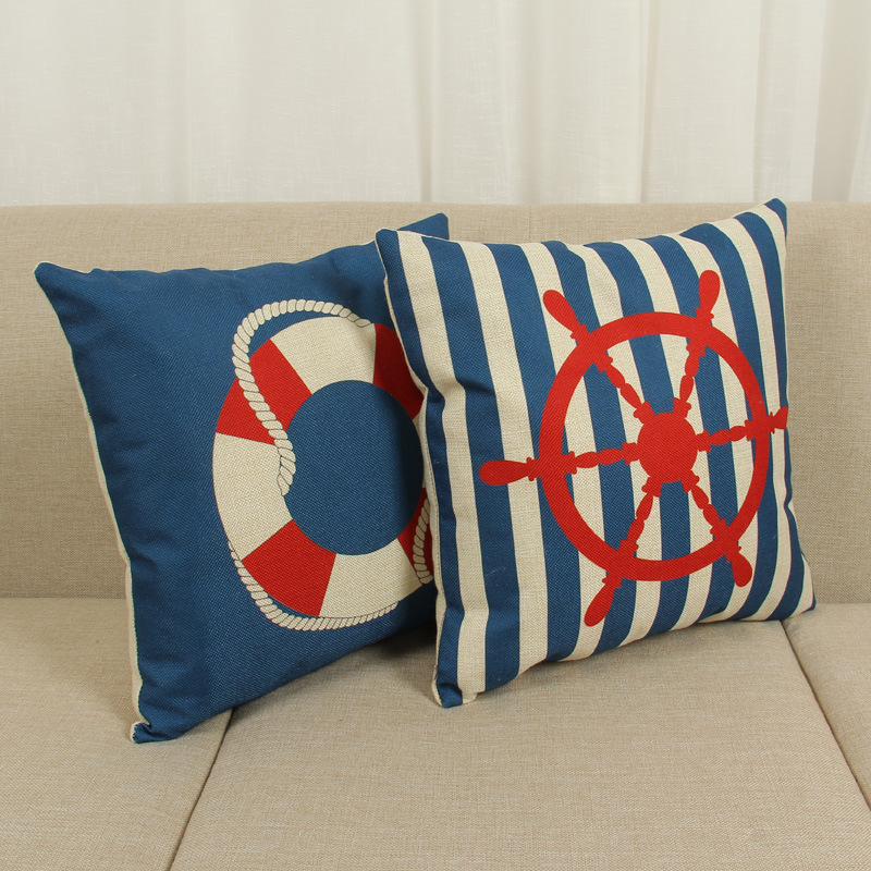 45cm Red Blue Life Buoy Fashion Cotton Linen Fabric Throw Pillow Hot Sale 18 Inch New Home Decor Sofa Car Cushion Office Nap HL