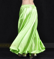 1pcs/lot  free shipping new style women sexy Shining Satin Long Skirt Swing Skirt dancing lady Belly Dance Costume 14color