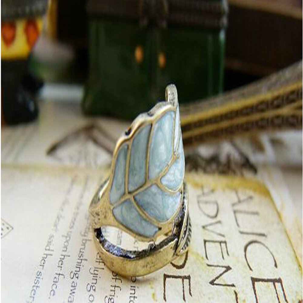 Mix Wholesale Cheap Jewelry Vintage Restore Ancient Ways Adorn Article Colored Glaze Leaves Ring for Women