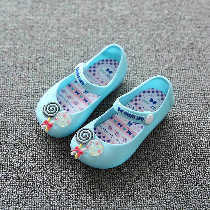 Girls Sandals 2017 New Mini Melissa Kids Sandals Sweet Children Beach Sandal Cute Buckle Strap Soft Leather Girls Shoes(China (Mainland))