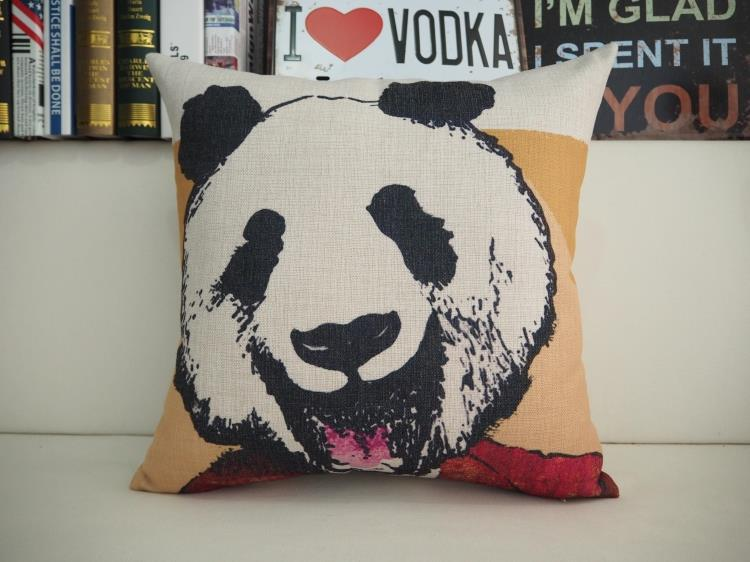 Modern Hand drawn cartoon pillow panda rabbit cushion Linen pillowcase sofa cushions home decorative Pillows