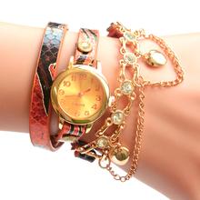2015 nuevo reloj pulsera mujer mujeres reloj de cuarzo de cuero alta calidad multi capa de cuerda del reloj envío gratis