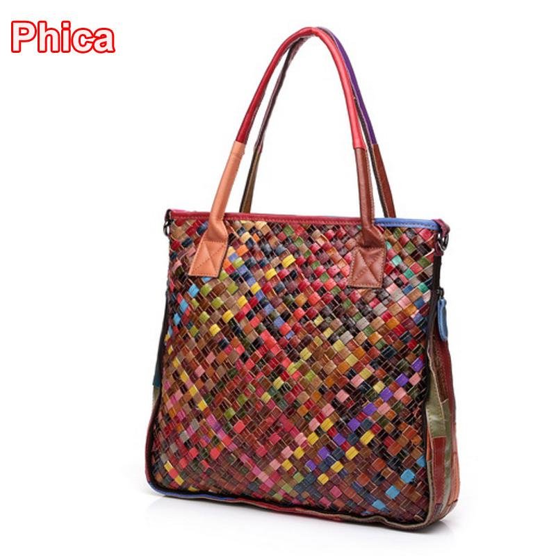 Travel bag handmade weaving women messenger bags in top handle bags