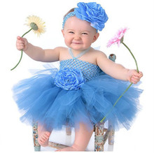 Baby girl double flower fluffy Chiffon Ball Gown with headband Infant girls dress for birthday gift Photography props 1pc TT005(China (Mainland))