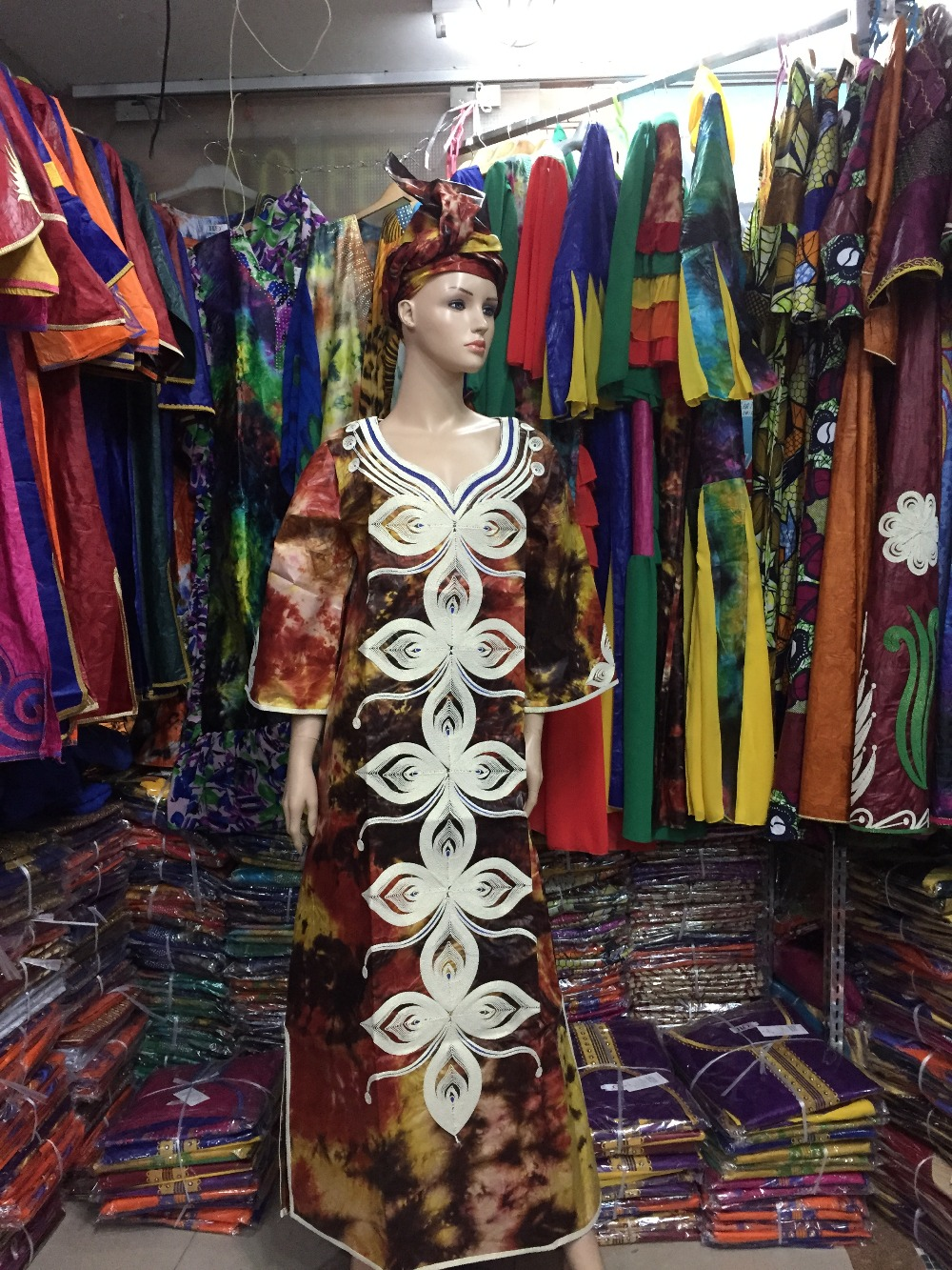 2016 African traditional fashion Bazin women dress embroidery embroidery cotton fabrics(Free DHL Shipping)S2403-1