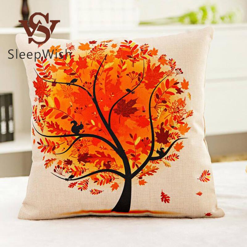 SleepWish Maple Tree of Life Cushion Cover Sofa Car Seat Decorative Pillow Covers 45cmx45cm almofada Best Sell(China (Mainland))