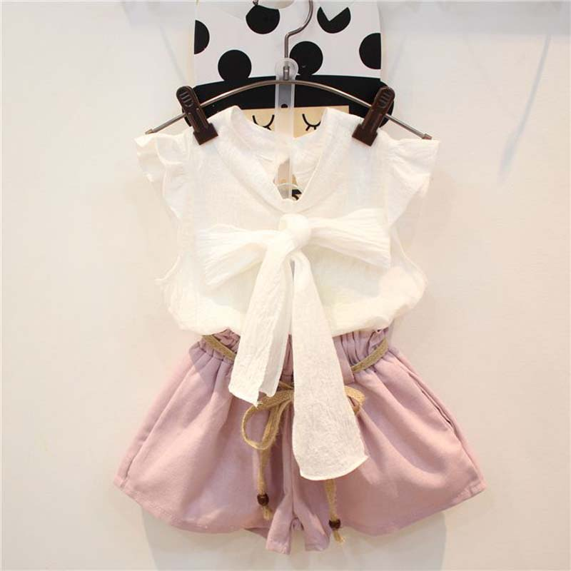 Girls Boutique Clothing fashion baby girl white bow ruffles sleeve top + casual shorts suit kids toddler summer 2pcs clothes set(China (Mainland))