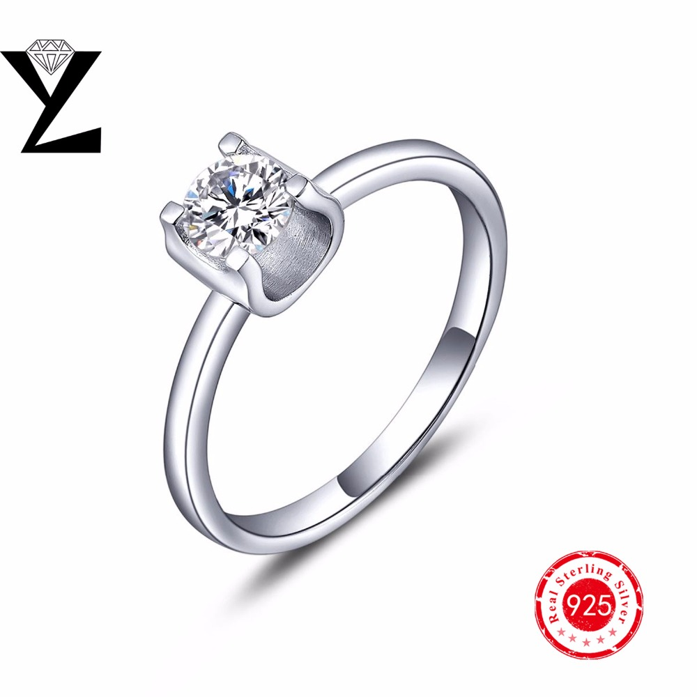 925 Crystal Shop Brand Design Delicate Shiny Square Big Stone Austrian Crystal Engagement Ring Zircon Wedding Rings For Women(China (Mainland))