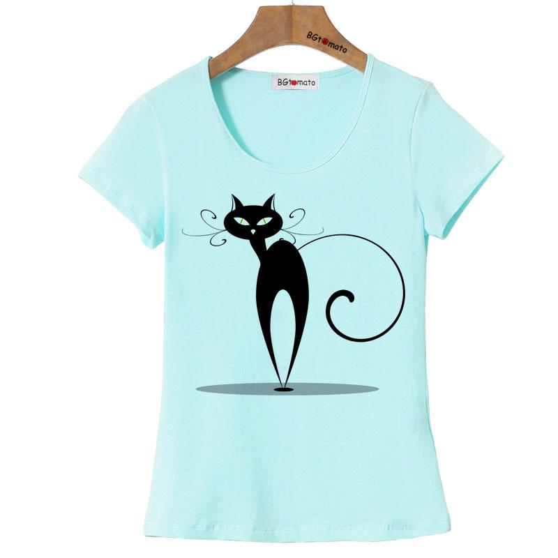 BGtomato originality artwork elegant cat t shirt women new arrival fashion shirt Brand good quality comfortable cotton shirt(China (Mainland))