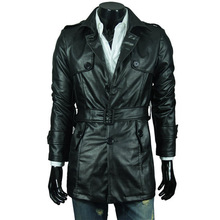 Wholesale trade real shot XL upscale men's washed leather men's single-breasted leather coat leather long section(China (Mainland))