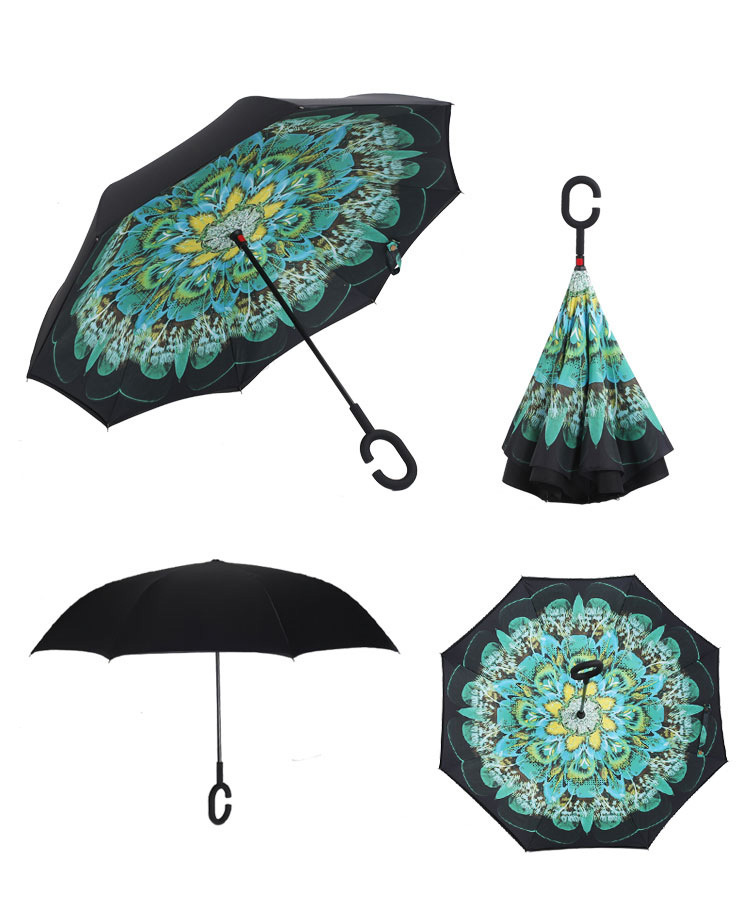 Creative Reverse Umbrella Windproof Reverse Folding Double Layer ...