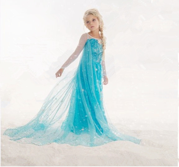 Girl dress Anna beautiful Dresses Party Princess Elsa Anna Dress Vestidos De Menina costume Cosplay Fantasia children clothing(China (Mainland))