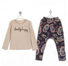 2015 autumn personalized print boys clothing baby child long-sleeve T-shirt trousers set A0128(China (Mainland))