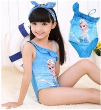 Kids Elsa Anna Princess Blue Beachwear Cloth Girls Swimsuit Baby Toddler biquini infantil Kids One piece Girls Bathing Suit