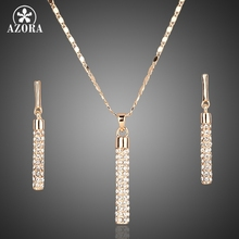 AZORA Gold Plated Clear Austria Crystals Drop Earrings and Pendant Necklace Jewelry Sets TG0007(China (Mainland))