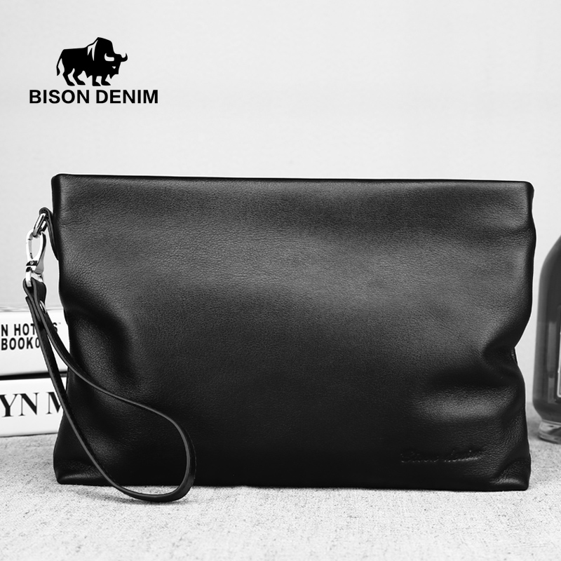 Bison Denim Top quality Cowhide Leather Mens Large Capacity Long Wallet Soft  Clutch bag For Phone Cards Cash<br><br>Aliexpress