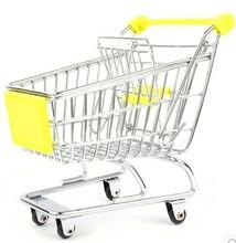 New Fashion Mini Supermarket Hand Trolleys Mini Shopping Cart Desktop Decoration Storage Phone Holder Baby Toy(China (Mainland))