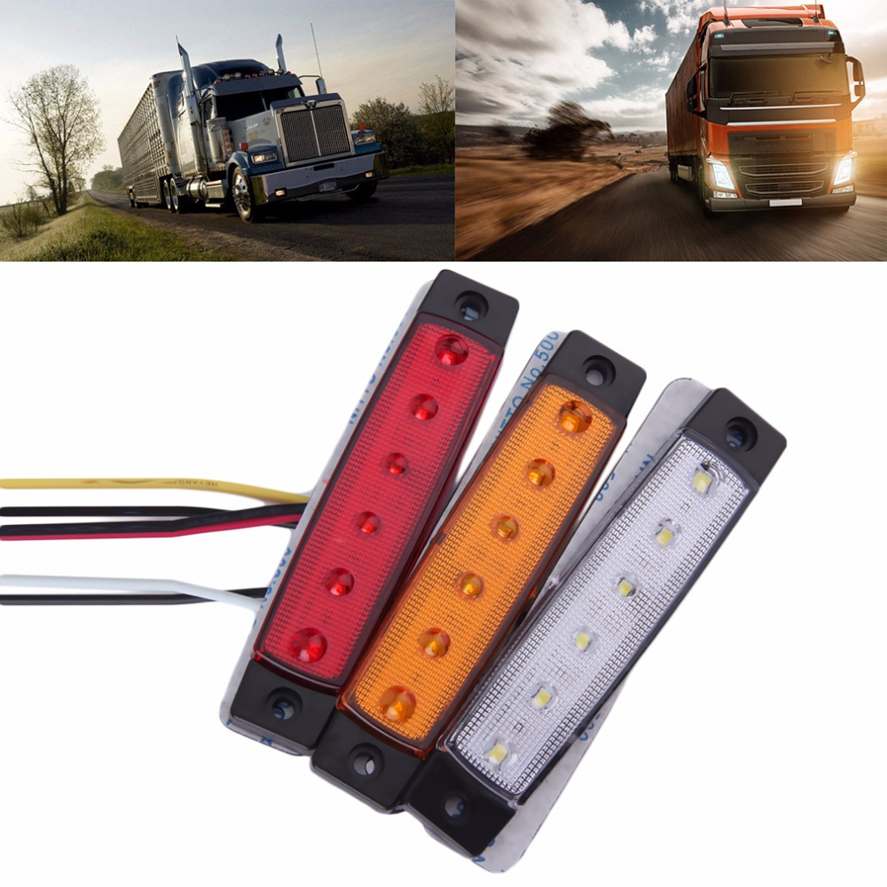2016 New 1pc 5 colors white/red/yellow/blue/green 12V 6 LED Car Bus Truck Trailer Lorry Side Marker Indicator Light Side lamp(China (Mainland))