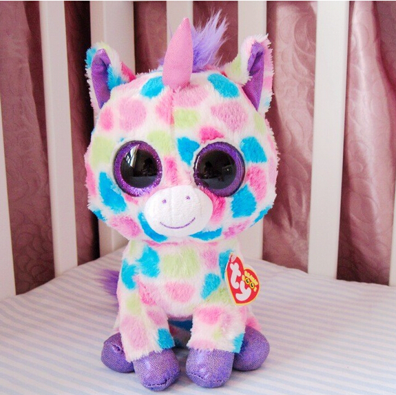 TY big eye plush toys 15cm stuffed classic unicorn doll for kids free shipping Beanie Boos(China (Mainland))