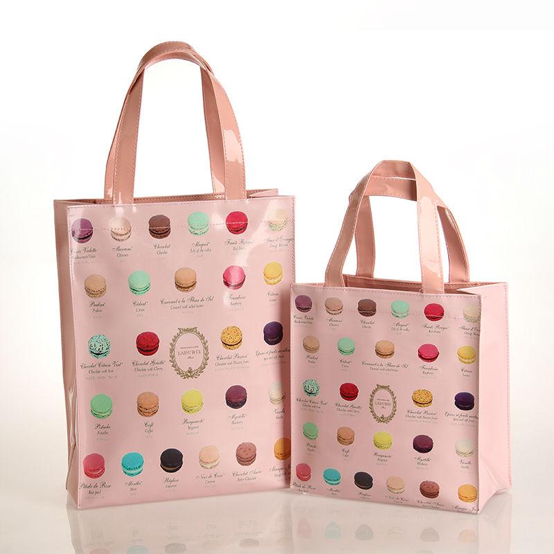 Macarons Pattern Two Sizes Waterproof PVC Shopping Bag Tote Bag Fashion Women's Handbag Shoulder Bag(China (Mainland))