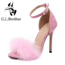 G.L.Brother Fur Sandals Heels Women High Heel Sandals Sexy Stripper Shoes Fashion Thin Heels Shoes Woman Sandals 3 Colors(China (Mainland))