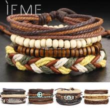 1Set Multilayer Leather Bracelet Men Jewelry Boho Rock Wood Bead Bracelets For Women Love Vintage Bracelets & Bangles Gift(China (Mainland))