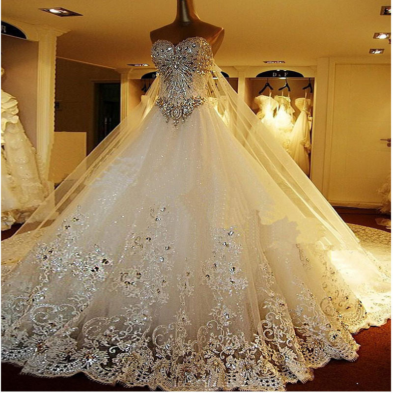 Ball Gown Wedding Dresses Long Trains : Elegant hot selling ball gown sweetheart luxury crystal