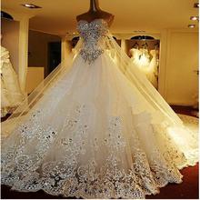 Elegante heißer verkauf ballkleid schatz Luxus kristall, perlen langes Zug modische braut brautkleid brautkleider(China (Mainland))