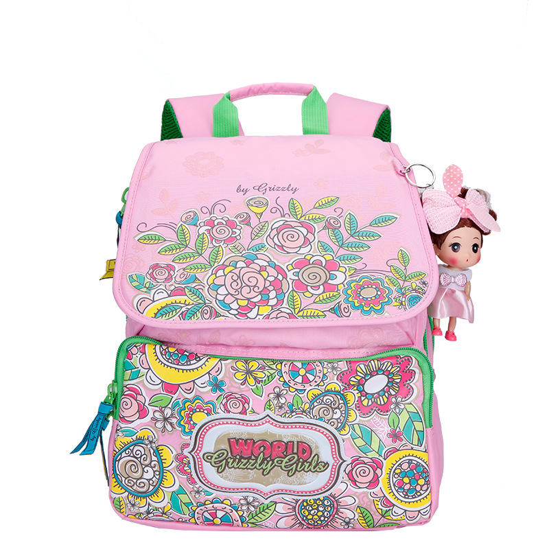 GRIZZLY Pink School Bags for Girls Waterproof Cartoon Kids Backpacks High Quality School Backpacks for Teenagers Girls(China (Mainland))