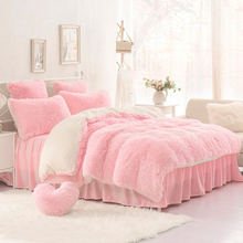 Winter thickening Mink Cashmere bedding set 4pcs goatswool bed skirt bedroom fitted bed cover queen size king size pink purple(China (Mainland))