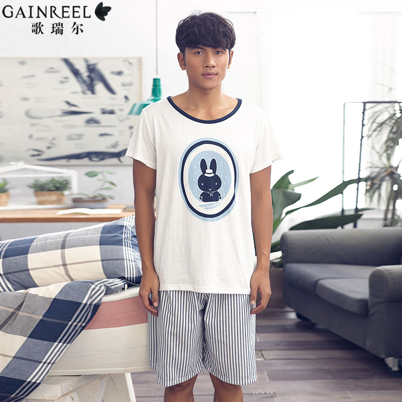 Song Riel fashion cute cartoon comfortable pajama stripes large size men s short sleeved tracksuit suit