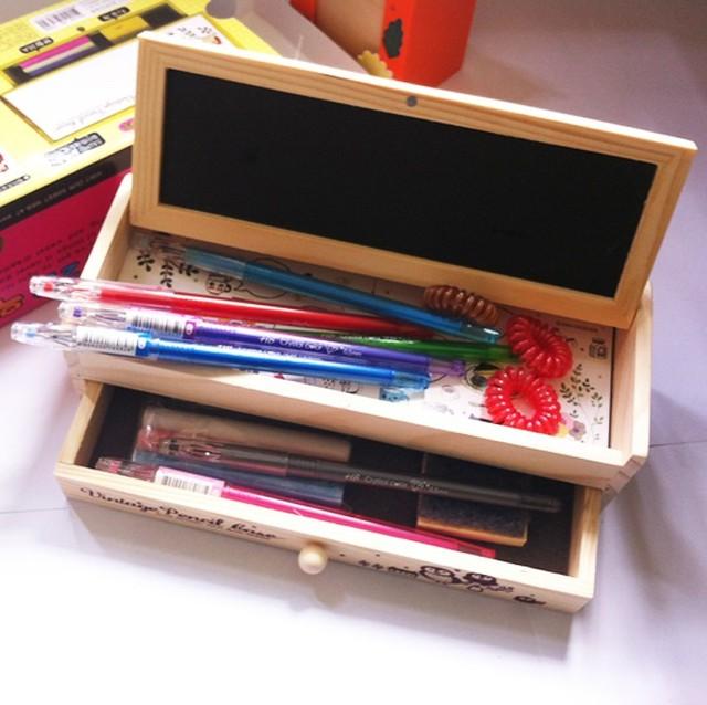 Korea stationery wooden stationery box wool multifunctional blackboard pencil box multifunctional